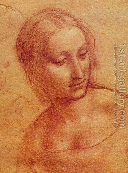 Head of a Woman 1510-11 by Leonardo Da Vinci - Reproduction Oil Painting