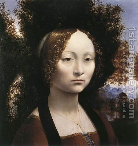 Portrait of Ginevra de Benci by Leonardo Da Vinci - Reproduction Oil Painting