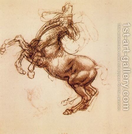 Rearing Horse 1483-98 by Leonardo Da Vinci - Reproduction Oil Painting