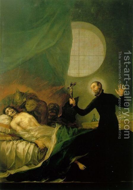 St Francis Borja at the Deathbed of an Impenitent by Goya - Reproduction Oil Painting