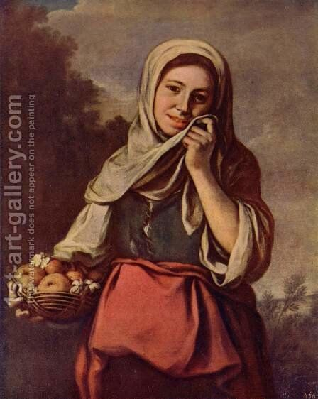 A Girl with Fruits by Bartolome Esteban Murillo - Reproduction Oil Painting