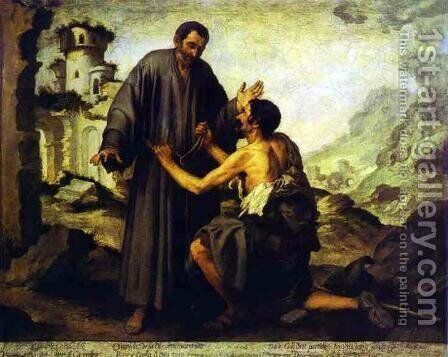 Brother Juniper and the Beggar by Bartolome Esteban Murillo - Reproduction Oil Painting