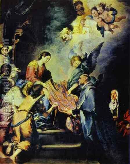 Chasuble of St. Idelfonso by Bartolome Esteban Murillo - Reproduction Oil Painting