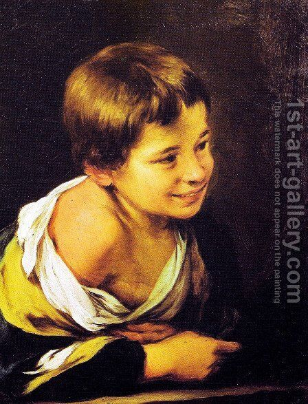 Child supported by a parapet by Bartolome Esteban Murillo - Reproduction Oil Painting