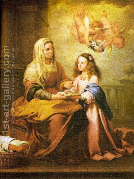 Childhood of Virgin by Bartolome Esteban Murillo - Reproduction Oil Painting