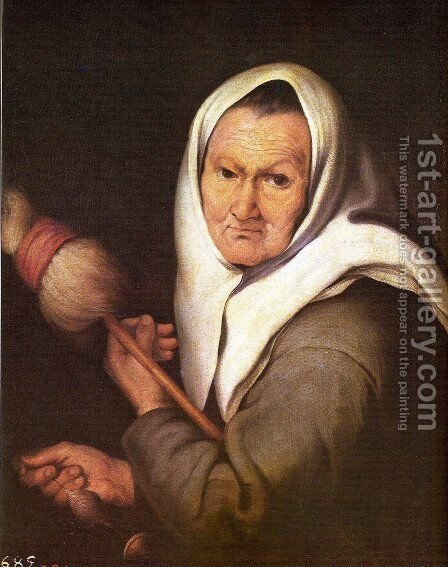Old Woman with a Distaff by Bartolome Esteban Murillo - Reproduction Oil Painting