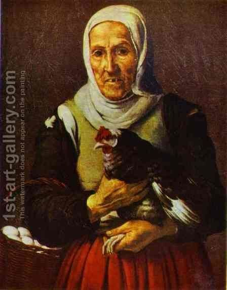 Old Woman with a Hen by Bartolome Esteban Murillo - Reproduction Oil Painting