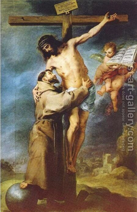 Saint Francis embracing Christ on the Cross by Bartolome Esteban Murillo - Reproduction Oil Painting