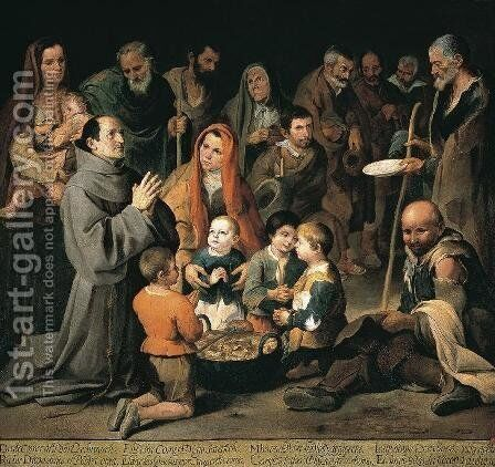 St. Diego Giving Alms by Bartolome Esteban Murillo - Reproduction Oil Painting