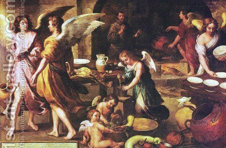 The angel's kitchen (detail) by Bartolome Esteban Murillo - Reproduction Oil Painting