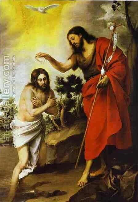 The Baptism of Christ by Bartolome Esteban Murillo - Reproduction Oil Painting