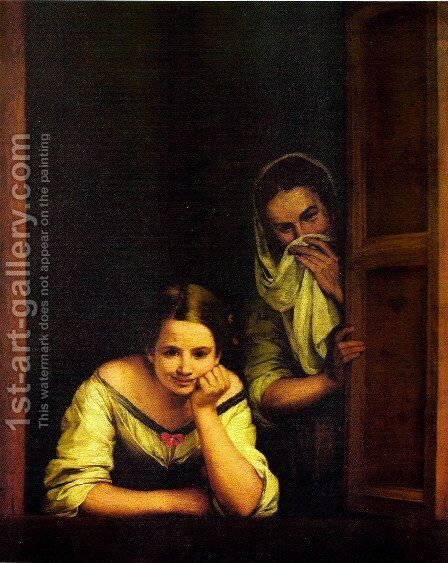 The Galicians at the window by Bartolome Esteban Murillo - Reproduction Oil Painting