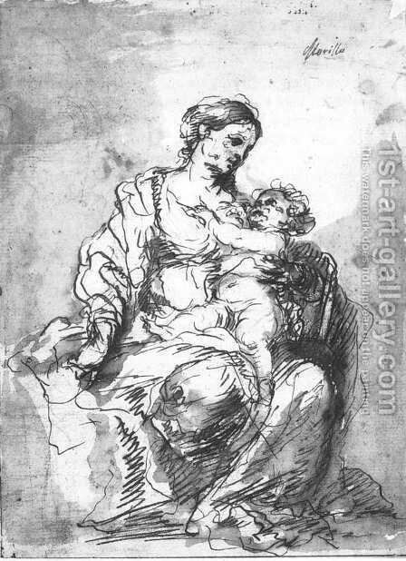 Virgin and Child (study) by Bartolome Esteban Murillo - Reproduction Oil Painting