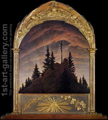 Cross in the Mountains (Tetschen Altar) by Caspar David Friedrich - Reproduction Oil Painting