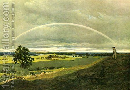 Landscape with rainbow by Caspar David Friedrich - Reproduction Oil Painting