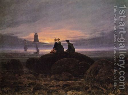 Moonrise over the Sea by Caspar David Friedrich - Reproduction Oil Painting