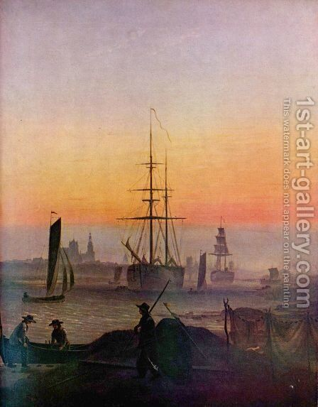 Ships in the port of grab forest by Caspar David Friedrich - Reproduction Oil Painting