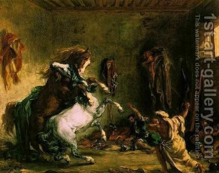 Arabian Horses Fighting in a Stable by Eugene Delacroix - Reproduction Oil Painting
