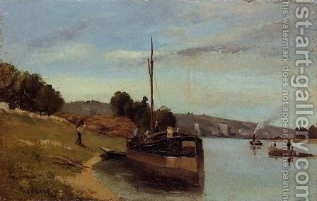 Barges at Le Roche Goyon by Camille Pissarro - Reproduction Oil Painting