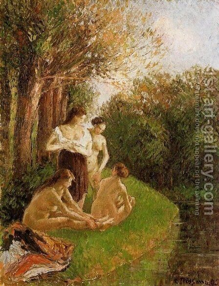 Bathers 1 by Camille Pissarro - Reproduction Oil Painting
