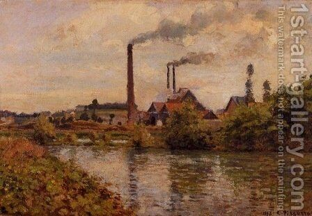 Factory at Pontoise 2 by Camille Pissarro - Reproduction Oil Painting