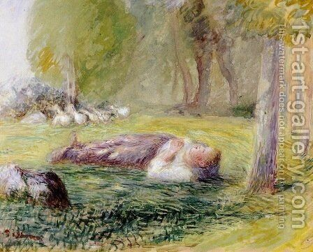 Goose Girl Reclining by Camille Pissarro - Reproduction Oil Painting