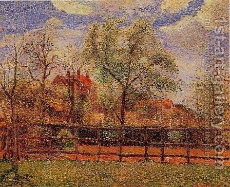 Pear Trees in Bloom, Eragny, Morning by Camille Pissarro - Reproduction Oil Painting