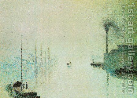 the Lacroix island, Rouen. Fog effect by Camille Pissarro - Reproduction Oil Painting