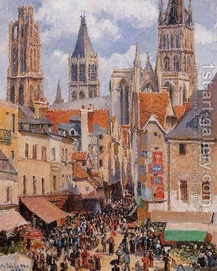 The Old Market and the Rue de l'Epicerie in Rouen by Camille Pissarro - Reproduction Oil Painting