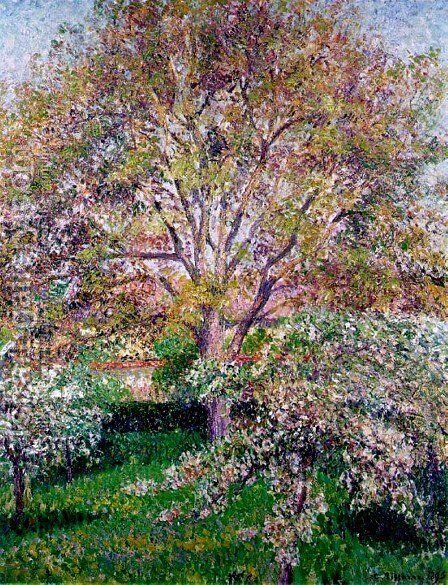 Walnut and Apple Trees in Bloom, Eragny by Camille Pissarro - Reproduction Oil Painting