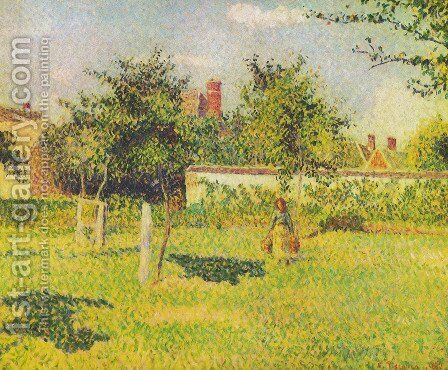 Woman in the orchard by Camille Pissarro - Reproduction Oil Painting