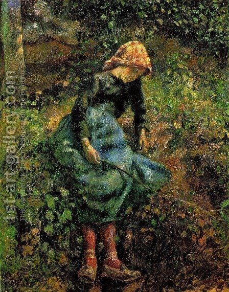 Young Peasant Girl with Stick by Camille Pissarro - Reproduction Oil Painting