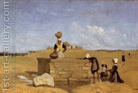 Breton Women at the Fountain by Jean-Baptiste-Camille Corot - Reproduction Oil Painting
