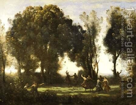 Dança das Ninfas by Jean-Baptiste-Camille Corot - Reproduction Oil Painting