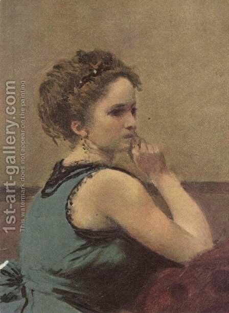 Frau in Blau, Detail by Jean-Baptiste-Camille Corot - Reproduction Oil Painting