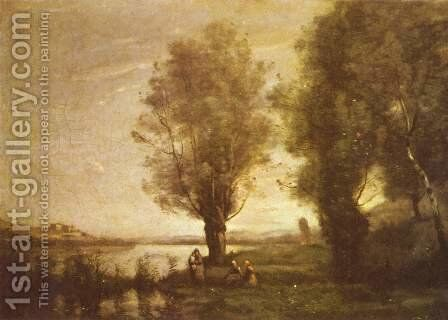 Rast unter Weiden am Wasser by Jean-Baptiste-Camille Corot - Reproduction Oil Painting