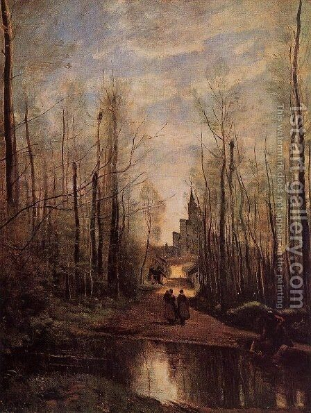 The Church of Marissel by Jean-Baptiste-Camille Corot - Reproduction Oil Painting