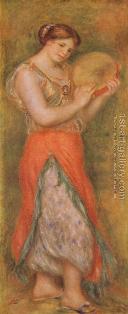 Dancer with tambourine by Pierre Auguste Renoir - Reproduction Oil Painting