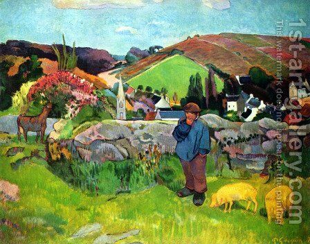 Bretoni landscape with Schweinehirt by Paul Gauguin - Reproduction Oil Painting