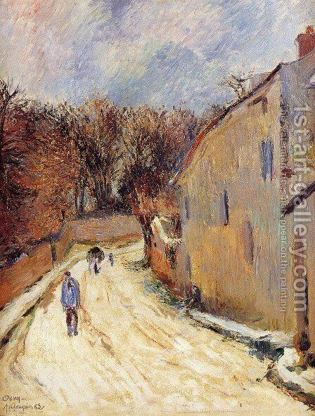 Osny, rue de Pontoise, Winter by Paul Gauguin - Reproduction Oil Painting