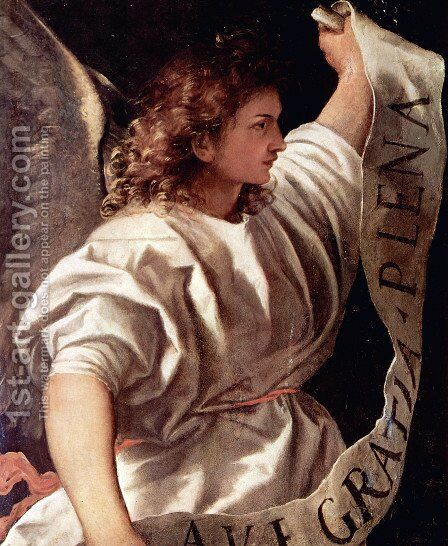 Polyptych of the Resurrection, Archangel Gabriel by Tiziano Vecellio (Titian) - Reproduction Oil Painting
