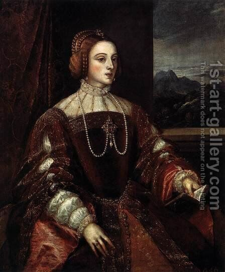 Portrait of Isabella of Portugal by Tiziano Vecellio (Titian) - Reproduction Oil Painting