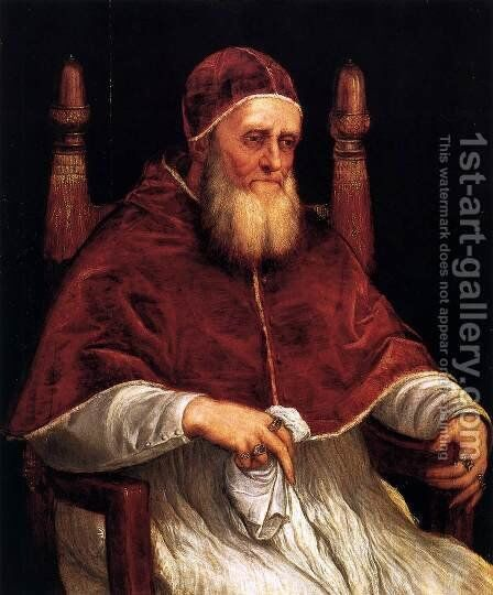 Portrait of Pope Julius II by Tiziano Vecellio (Titian) - Reproduction Oil Painting
