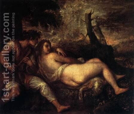 Shepherd and Nymph by Tiziano Vecellio (Titian) - Reproduction Oil Painting