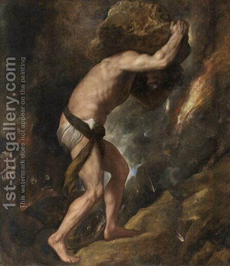 Sisyphus. The painting by Tiziano Vecellio (Titian)