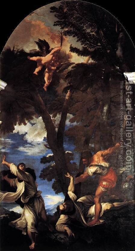 The Death of St Peter Martyr by Tiziano Vecellio (Titian) - Reproduction Oil Painting