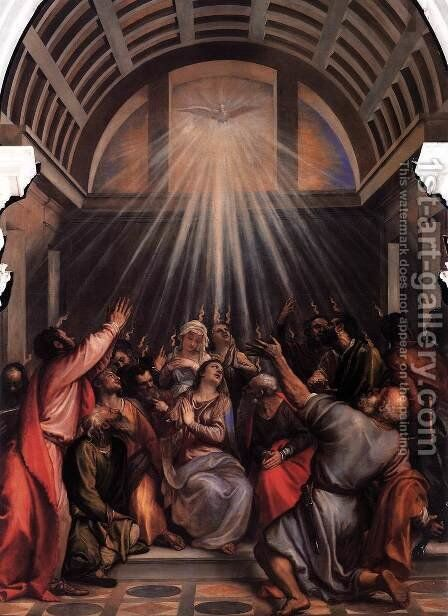 The Descent of the Holy Ghost by Tiziano Vecellio (Titian) - Reproduction Oil Painting