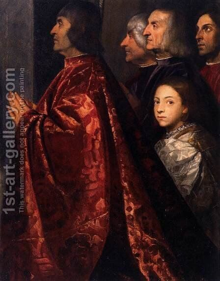 Madonna with Saints and Members of the Pesaro Family (detail 2) by Tiziano Vecellio (Titian) - Reproduction Oil Painting