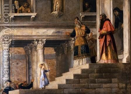 Presentation of the Virgin at the Temple (detail 3) by Tiziano Vecellio (Titian) - Reproduction Oil Painting