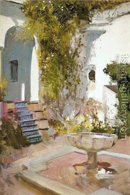 Corner of the Grutesco of Alcázar, Seville by Joaquin Sorolla y Bastida - Reproduction Oil Painting